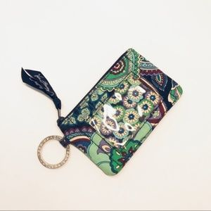 Vera Bradley Quilt Floral Blue Key Ring Purse